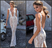 Wholesale sexy open back wedding dresses online - Berta New Lace Wedding Dresses Backless V Neckline Illusion Bodice Floor Length Sexy Open Back Split Bridal Gowns