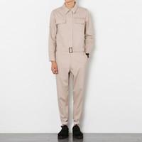 мужская толстовка оптовых-Mens Jumpsuits Slim Fit Leisure Pants Skinny Overalls One Piece Trousers 100% Cotton Black Khaki