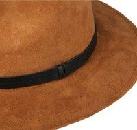 sombrero de fieltro de ala blanda al por mayor-Manera- de ante unisex amplia primavera ala sentía sombreros de ala sombreros mujeres de la vendimia de disquete Ala encabezamiento femme Pnama HA