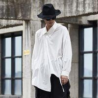 paçavra gömleği toptan satış-Erkekler Vintage Siyah Beyaz Uzun Kollu Asimetrik Pat Tasarım Gevşek Casual Gömlek Erkek Japonya Streetwear Hip Hop Gömlekler
