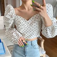 chemises de printemps sans dossier achat en gros de-Chemisier à manches bouffantes dos nu court sexy chemise femme printemps mode nouvelle 2019