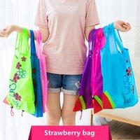sacs d'épicerie se pliants en nylon achat en gros de-Fraise Shopping Bags Eco Storage Sac À Main Fraise Pliable Sacs à provisions Pliant Épicerie Sac En Nylon Grande Capacité Maison Fourre-Tout Pochette