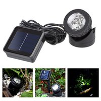 exterior, jardim, iluminação, mancha venda por atacado-Waterproof Solar Powered Spotlight Lâmpada LED Garden Spot Light Auto On Piscina Pond Outdoor Led Quintal Luz Lâmpadas LJJZ434