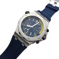 correias abertas venda por atacado-Luxo Royal Oak vidro aberto relógio de volta Diver 42mm Movimento Automático 15703 Cinto De Borracha Mens Black Dial Relógios Desportivos
