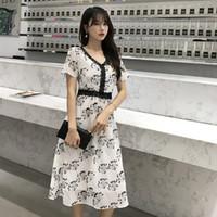 koreanische spitze chiffon- kleid beiläufig großhandel-Koreanische 2019 Sommer Neue Spitze Patchwork Print Kleider Lässige Mode Chiffon Robe Femme Ete Elegante Chiffon Fashion Vestidos