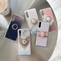 ingrosso samsung foil-Custodia di stoffa per coriandoli in marmo per Iphone XS MAX XR X 8 7 6 Anello di metallo a 360 dita + Rivestimento di lusso con paillette scintillanti Tinta unita