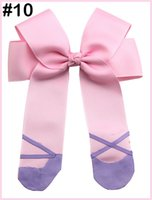 Wholesale pink cheerleading bows resale online - ballet cheerleading hair bows Ballet Shoes Hair Clippies for your Ballerina Ballet Hair Bow