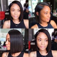 bakire saç kökü toptan satış-Dantel Ön İnsan Saç Peruk Brezilyalı Bob Kesim Sınıf Bakire Remy İnsan Saç Siyah Kadınlar Için Tam Peruk