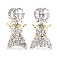 diseños de cajas de regalo de lujo al por mayor-Tiene sellos de marca de moda de abeja pendientes de diseñador para dama Diseño Mujer Fiesta Amantes de la boda de regalo de joyería de lujo para novia con caja
