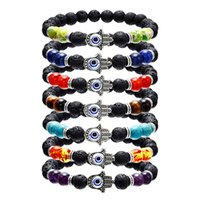 Wholesale evil eye jewelry for men for sale - Group buy Hamsa Hand of Fatim Charm Lava Rock Beads bracelets For women Men Evil Blue Eye Essential Oil Diffuser Chakra stone DIY Jewelry