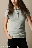 pink black polos al por mayor-2019 Nuevo diseño de moda de verano Inglaterra Plaid camiseta de manga corta de las mujeres de alta calidad 100% algodón impresión POLO camisa negro rosa