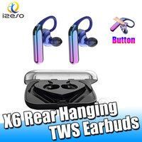 Wholesale design headset iphone resale online - X6 Bluetooth TWS Earbuds IPX7 Waterproof Sport Headset Power Bass HIFI Sound Luxury Design Headphone With Microphone Retail Packaging izeso