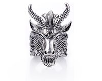 ingrosso pecore in lega-Retro Satan Sheep Head Punk Anelli Animal Pentagram Finger Anelli Gioielli Charm in lega per Cool Donna Uomo Night Bar Decor