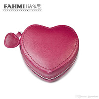 Wholesale vintage leather jewelry boxes resale online - FAHMI Vintage Red Heart shaped Jewelry Protective Box Charm Gift Wrap Box Wedding Women Jewelry