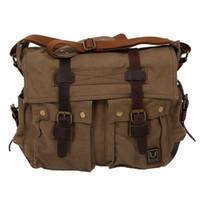 sac à bandoulière vert armée achat en gros de-NOUVEAU-Sac à bandoulière en cuir vintage pour école Messenger Sling Crossbody Bag Satchel-army green