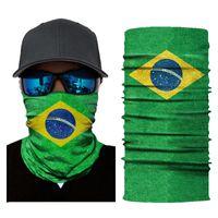 Wholesale brazil caps resale online - Brazil National Flag Seamless Magic Balaclava Face Masks Moto Motorcycle Skiing Riding Scarf Neck Shield Anti UV Warmer Bandana