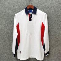 Wholesale long sleeve white jersey soccer resale online - Long sleeve Retro ENGLAND soccer jerseys Home White SHEARER SHERINGHAM BECKHAM Men OWEN SCHOLES Classic Football Shirt