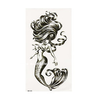 Wholesale 1 Sexy Mermaid Wave Black Henna Temporary Tattoo Black Mehndi Style Waterproof Tattoo Sticker