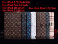 ipad mini kart cüzdan kılıfı toptan satış-Moda Izgara Deri Flip Case Yeni iPad Için Pro 9.7 10.5 12.9 inç iPad Hava 6 5 için Flip Kapak çevirin Lüks Cüzdan Kredi Kartı Tutucu için iPad min