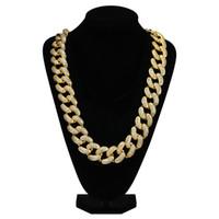 pendentif grande chaîne achat en gros de-Chaînes glacées Hip Hop Big Diamond Collier Micro pendentif en cuivre zircone cubique serti de diamants Plaqué en or chaîne de Cuba