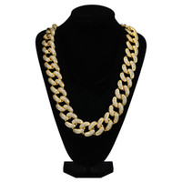 Iced Out Chains Hip Hop Big Diamond Necklace Micro Cubic Zirconia Copper Pendant Necklace Set With Diamonds 18k Gold Plating Cuba Chain