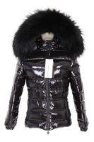rakun palto stilleri toptan satış-2019 Maomaokong marka siyah kadınlar aşağı ceketler 90% aşağı palto siyah rakun kürk trim kısa stil ile aşağı doldurun