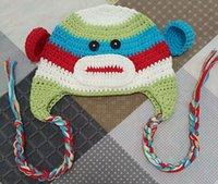 animales de ganchillo gratis al por mayor-Hecho a mano del bebé del ganchillo del sombrero de ganchillo bebé animal mono sombreros del ganchillo sombreros de invierno 100% de algodón del envío