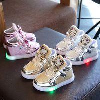 gatos zapatos para correr al por mayor-Diseñador de zapatos para niños LED Baby Toddler Holle Cat Sneaker Infantil Zapatillas deportivas para niños Niños Chicas Chaussures Pour Enfants