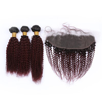 Wholesale 99j kinky curly closure for sale - B J Wine Red Bundles Brazilian Human Hair Kinky Curly with Frontal Burgundy Ombre Virgin Hair x4 Lace Frontal Closure with Weaves