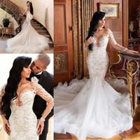 Wholesale sexy slim wedding dresses for sale - Group buy 2020 Sexy African Dubai Mermaid Lace Wedding Dresses Illusion Long Sleeves vestido de noiva Lace Appliques Slim Bridal Gowns Plus Size