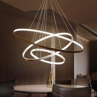 luzes modernas do círculo do teto venda por atacado-Círculo Moderno LEVOU Lâmpada Pingente de Acrílico Rodada Anel de Luz Pendurado Luminárias de Teto Para Sala de Jantar Sala de estar Decoração de Casa