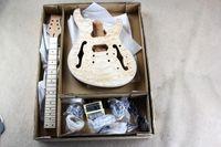 ingrosso corpi di chitarra-Kit per chitarra elettrica semi-hollow Custom Factory (parti) con manico in mogano, impiallacciatura di acero fiammato, hardware cromato, chitarra DIY