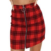 ingrosso mini pannello esterno sottile dimagrante-Feitong Mini Plaid Skirt Womens Party Zipper in legno Slim Slim a vita alta Mini gonna Sexy rosso nero Costumi per studenti