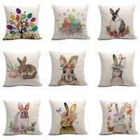 ingrosso fiori per la pasqua-9styles Easter Rabbit federa del cuscino della copertura del fiore dell'uovo stampa copertura del cuscino divano pisolino cuscino copre decorazione domestica 45 * 45 cm FFA1651