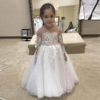 Wholesale princesses dresses for little girls for sale - Group buy Delicate Lace Tulle Little Flower Girls Dresses For Wedding Jewel Neck Long Sleeve Floor Length Princess Girls Pageant Dresses