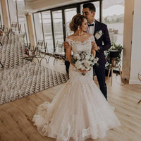 Wholesale lace romantic sexy wedding dresses for sale - Group buy Romantic Mermaid Wedding Dresses Off Shoulder Backless Lace Applique Floor Length Tulle Wedding Dress Bridal Gowns Vestidos De Noiva Robe