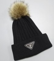 Wholesale cotton skull caps for men resale online - NEW embroidery Boy girl knitted wool Skullies casual cap with real fur for women men winter beanies brand Beanie Skull Caps