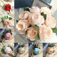 ingrosso testa di fiore artificiale rosa-Fiore di peonia artificiale testa singola fiore rosa fiori di seta fiori di nozze falso arredamento rosso rosa bouquet sposa decorazione