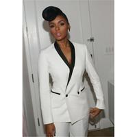 kadınlar için zarif siyah pantolon toptan satış-Ofis Üniforma Tasarımları Kadınlar Zarif Pantolon Takım Elbise Bayan Pantolon Suit Örgün Düğünler için Suits 2 Parça Set Siyah Yaka Beyaz Suit
