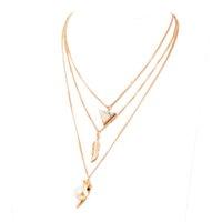 correntes de elos venda por atacado-Moda Jóias Alloy Chain Link Colar Multilayer Corpo folha Cadeia mineiros Pendant colares para as mulheres