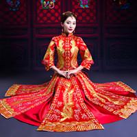 red vintage cheongsam plus größe großhandel-Rote exquisite Stickerei weiblichen Cheongsam Anzug plus Größe S-XXXL Phoenix Royal Braut Kleid Vintage lange Qipao Toast Kleidung