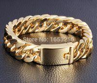 ingrosso catena 24k mens-Peso 95 g Bracciale a catena cubana in acciaio inossidabile con cordolo in acciaio inossidabile da 24