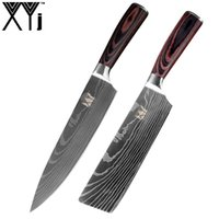 faca de cozinha japonesa damasco venda por atacado-XYJ 8 polegadas Facas de Cozinha Japonesa Imitação Padrão Damasco Chef Faca 7 polegadas Sharp Santoku Cleaver Facas Utilitário de Corte Ferramenta