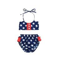 amerikanische flagge badeanzüge großhandel-Mädchen-Bikinis-ärmelloser Flaggen-Punkt-Stern-Knopf-Riemen-Badeanzug-Unabhängigkeit-Nationaltag USA 4. Juli-Schwimmen der amerikanischen Flagge