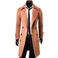 coole trenchcoats großhandel-CYSINCOS 2019 neue Ankunfts-Herbst-Winter-Graben-Mantel-Mann-Marken-Kleidung Kühlen Männer langen Mantel-hochwertige Baumwolle männlich Overcoat