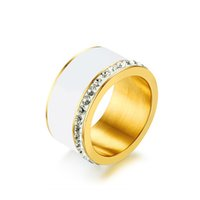 Wholesale bling wedding rings for sale - Group buy 11mm Unique Black Rings for Women Bling CZ Stones Stainless Steel Stylish Engagement Wedding Ring Female Jewelry
