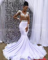 Wholesale rhinestone shoulder straps for sale - 2019 Sheer Long Sleeves Mermaid White Prom Dresses Luxury Rhinestones Crystal V Neck African Black Girls Graduation Party Gowns Gala Dress