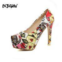 Wholesale ladies navy shoes size for sale - DIJIGIRLS Size Lady High Heel Women Print Platform Heels Pumps Round Toe Party Club Lady Wedding Female Footwear