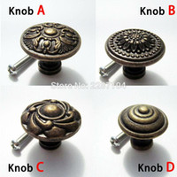 Wholesale drawer knobs resale online - Antique brass Vintage Round Flower Furniture Cabinet Cupboard Dresser Chest Closet Drawer Door Window Handle Pull Knob
