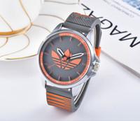 olha as folhas venda por atacado-AD trevo 3 folha grama relógio de quartzo feminino masculino sports casual sílica gel cinta relógio de pulso europeu americano marca relógios 14_003